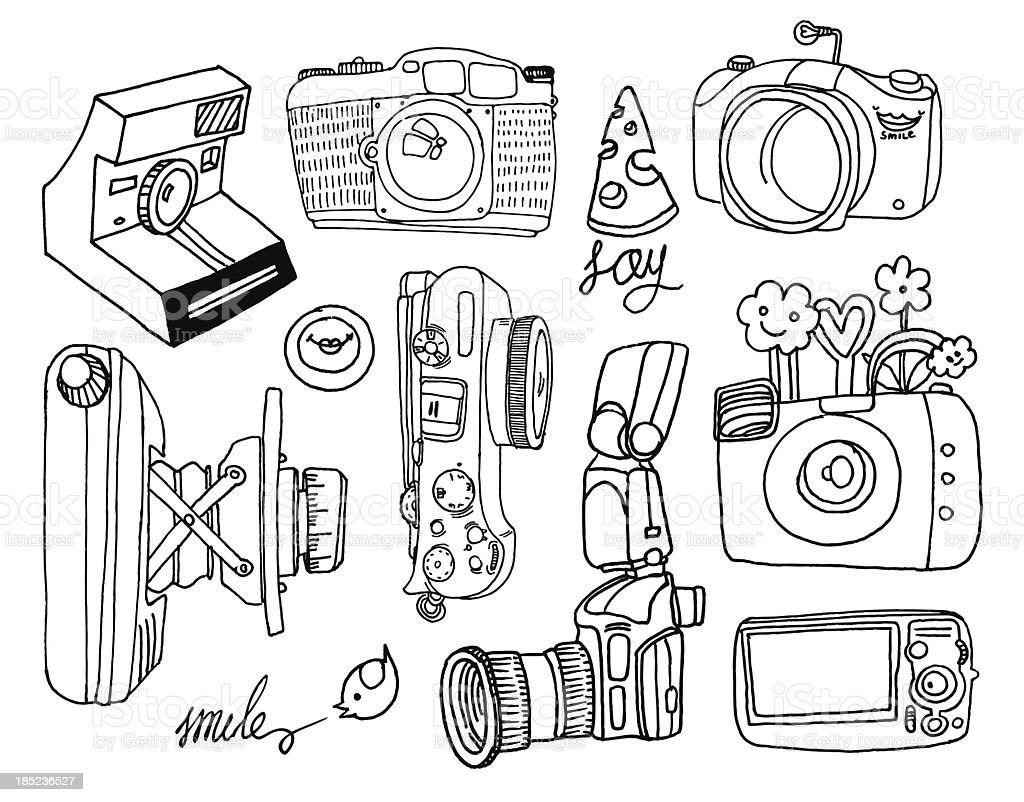 photo camera set royalty-free photo camera set stock vector art & more images of backgrounds