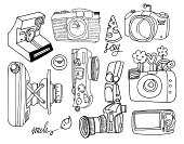 Vector Hand-Drawn Illustrations of Photo Cameras in Black&White style. Each of the Cameras is isolated object (eps 8).