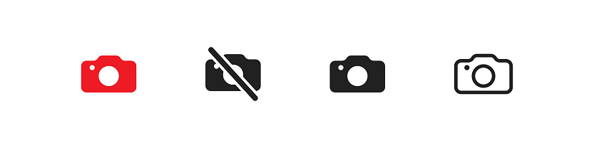 Photo camera, simple isolated black and line icon set, symbol for design in vector flat