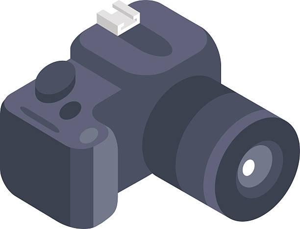 ilustraciones, imágenes clip art, dibujos animados e iconos de stock de cámara de foto vector de isométrica 3d icono aislado sobre un blanco - zoom call
