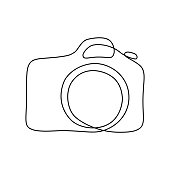 Photo camera in continuous line art drawing style. Minimalistic black line sketch on white background. Vector illustration