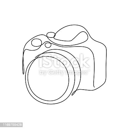 Photo camera in continuous line art drawing style. Black line sketch on white background. Vector illustration