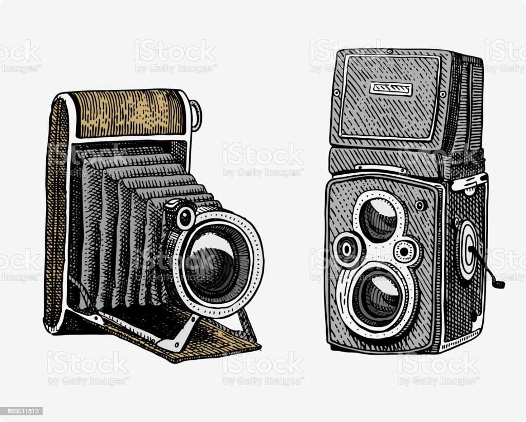 Camera Vintage Vector Free : Photo camera vintage engraved hand drawn in sketch or wood cut style