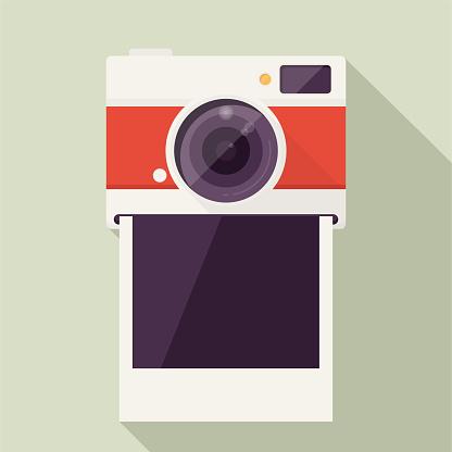 Photo Camera with Empty polaroid photo frame