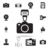 photo camera with flash icon with shadow. Set of Photo elements icon. Photo camera quality graphic design collection icons for websites, web design, mobile app on white background