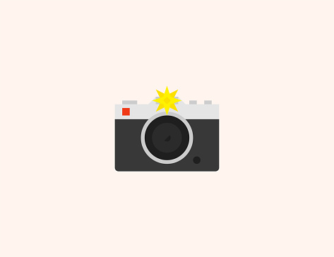 Photo Camera with flash vector icon. Isolated Photo Camera flat, colored illustration symbol - Vector