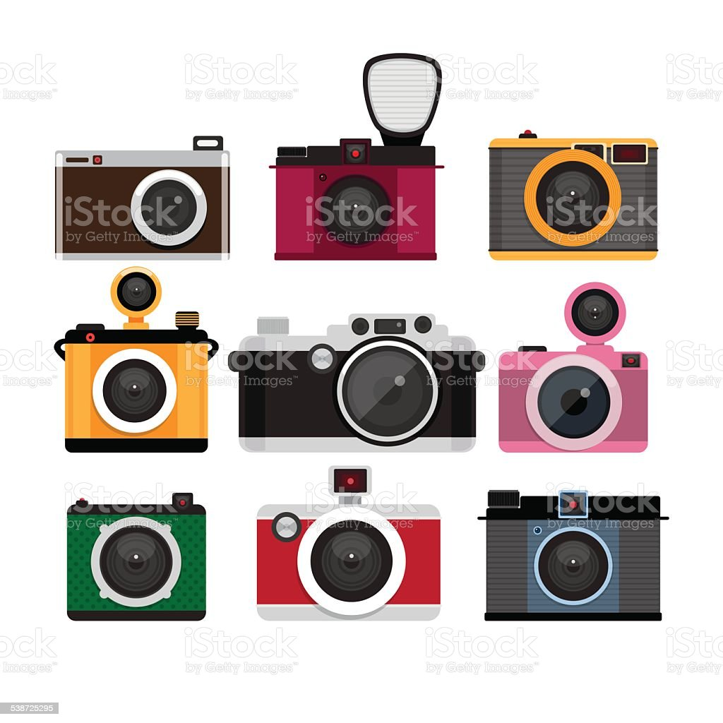 Photo cameras icons vector set.  Isolated icons. vector art illustration