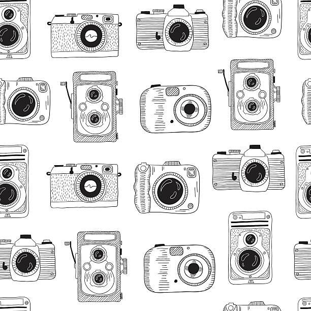ilustraciones, imágenes clip art, dibujos animados e iconos de stock de photo cameras pattern. hand drawn illustration. - zoom call