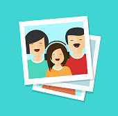 Photo cards or happy family vector illustration, flat cartoon photos or man, woman and girl together, lots of photographs clipart