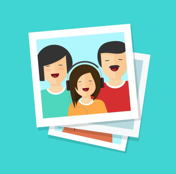 写真の男は、フラット漫画写真や幸せ家族のベクトル イラスト カード女性と女の子、一緒にたくさん写真クリップアート - 家族写真点のイラスト素材/クリップアート素材/マンガ素材/アイコン素材