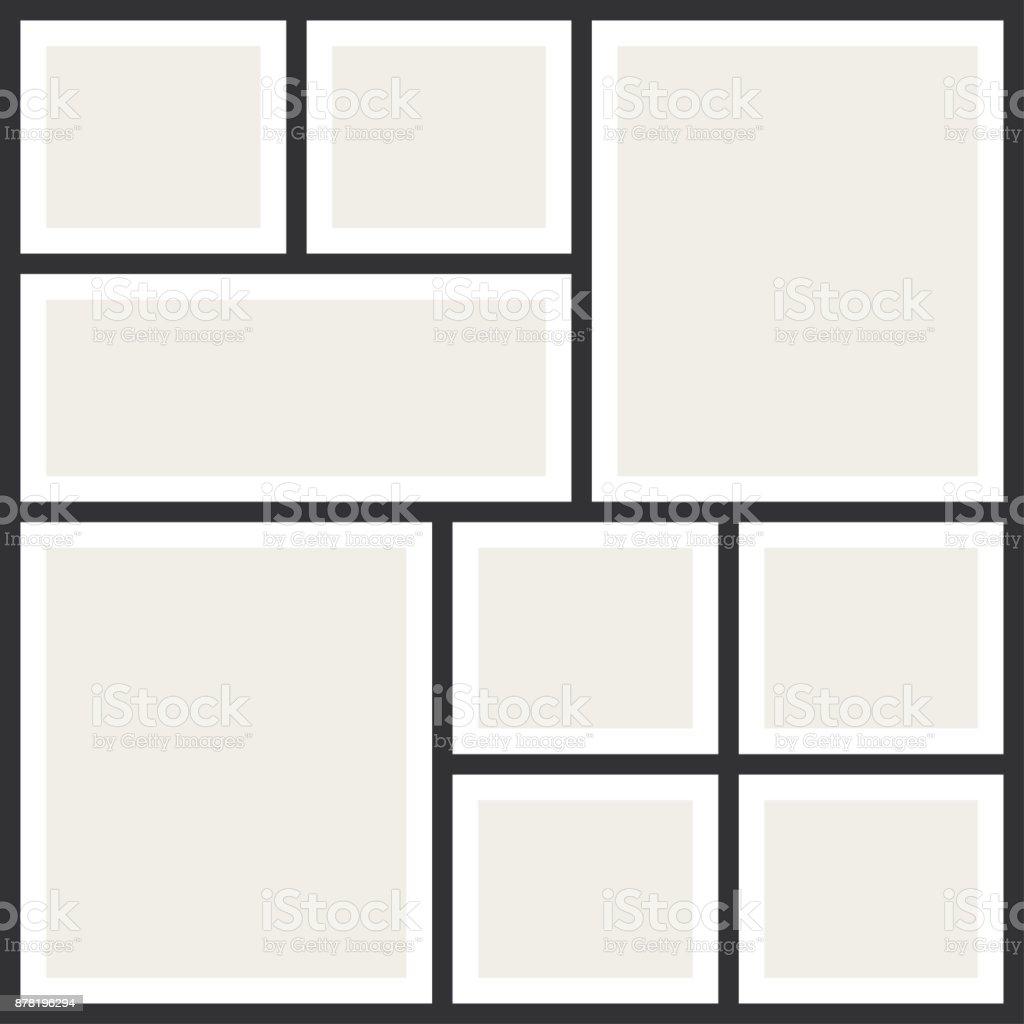 Photo collage frames. Vintage photo album, application template векторная иллюстрация