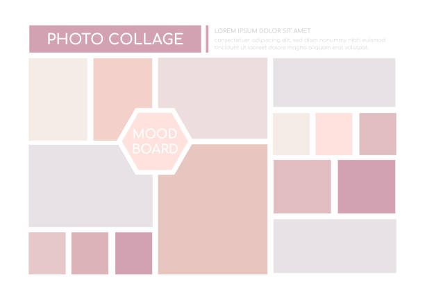 Photo collage, mood board - colorful vector template vector art illustration