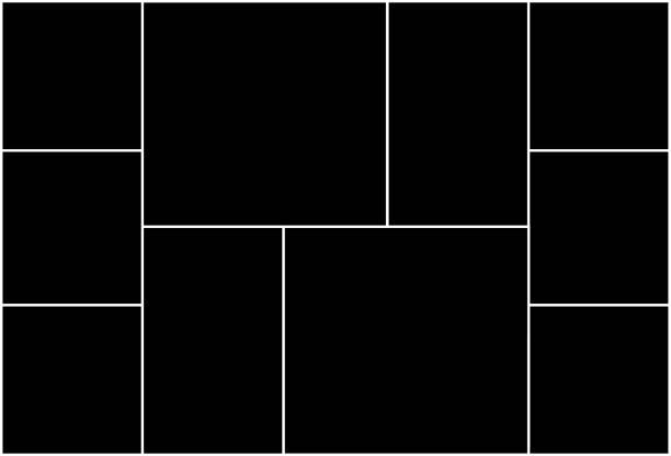 ilustrações de stock, clip art, desenhos animados e ícones de photo collage template consisting of 10 parts. symmetric empty square frames for album, gallery. vector illustration. - fotografia imagem