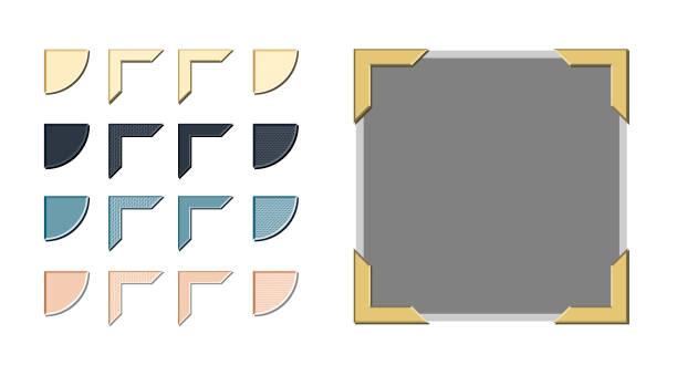 Photo Corner Variations Vector Vintage style photo corners vector with a variety of style and color options scrapbook stock illustrations