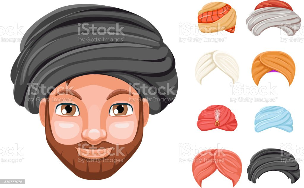 Photo decoration turban fashion headdress arab indian culture sikh sultan bedouin cute beautiful man head hat isolated icons set cartoon design video chat effects portrait mobile phone vector illustration vector art illustration