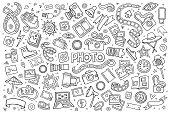 Photo doodles hand drawn sketchy vector symbols