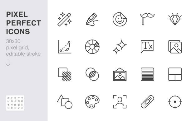 ilustrações, clipart, desenhos animados e ícones de conjunto de ícones da linha de edição de fotos. filtro de imagem, adicione adesivo, ajuste curvas, brilho, cure a ilustração vetorial mínima. sinais simples de contorno para aplicação de fotografia ui. 30x30 pixel perfeito. traços editados - imagem