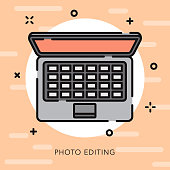 A flat design/thin line photography icon with small openings in the outlines to add some character. Color swatches are global so it's easy to edit and change the colors.