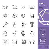 Photo Editor App related single line icons pack.