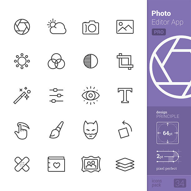 Photo Editor App Outline vector icons - PRO pack Photo Editor App related single line icons pack. lighting technique stock illustrations