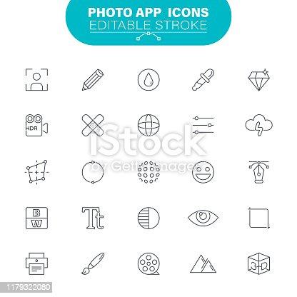 Photo Album, Eye, Lens - Optical Instrument, Picture Frame, Photography, Camera, Editable Icon Set