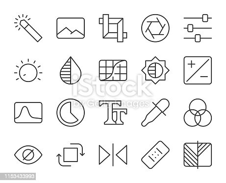 Photo Editor Light Line Icons Vector EPS File.