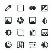 Photo Editor Silhouette Icons Vector EPS File.