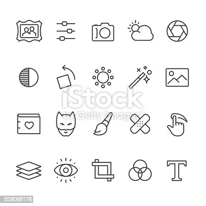 Photo Editor app related vector icons.