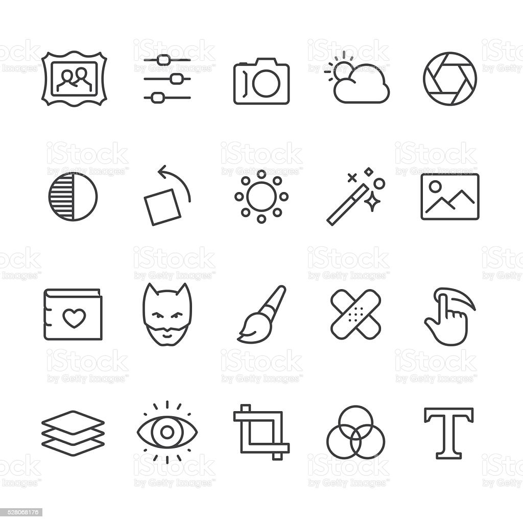 Photo Editor vector icons vector art illustration