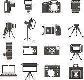 Photo equipment sillhouettes