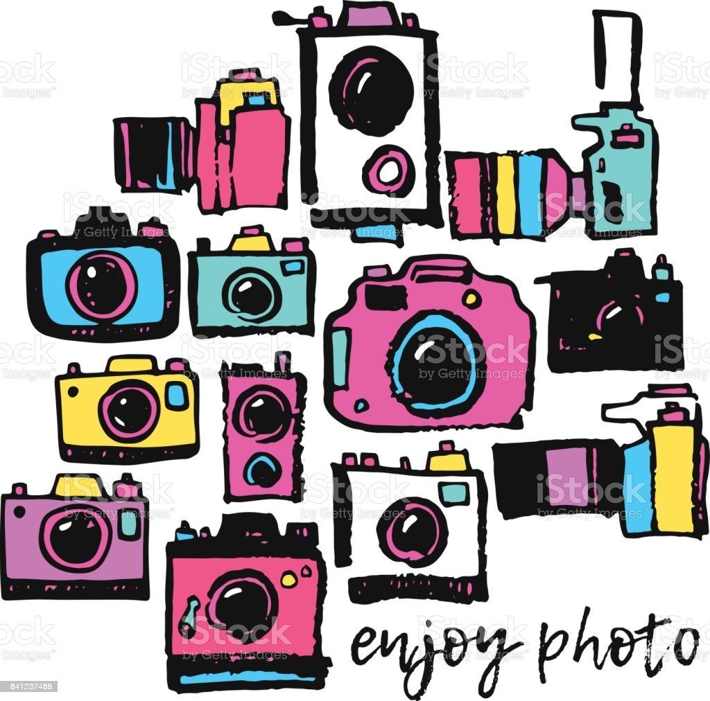 Photo film camera colorful hippie hand drawing grunge doodle collection set vector art illustration