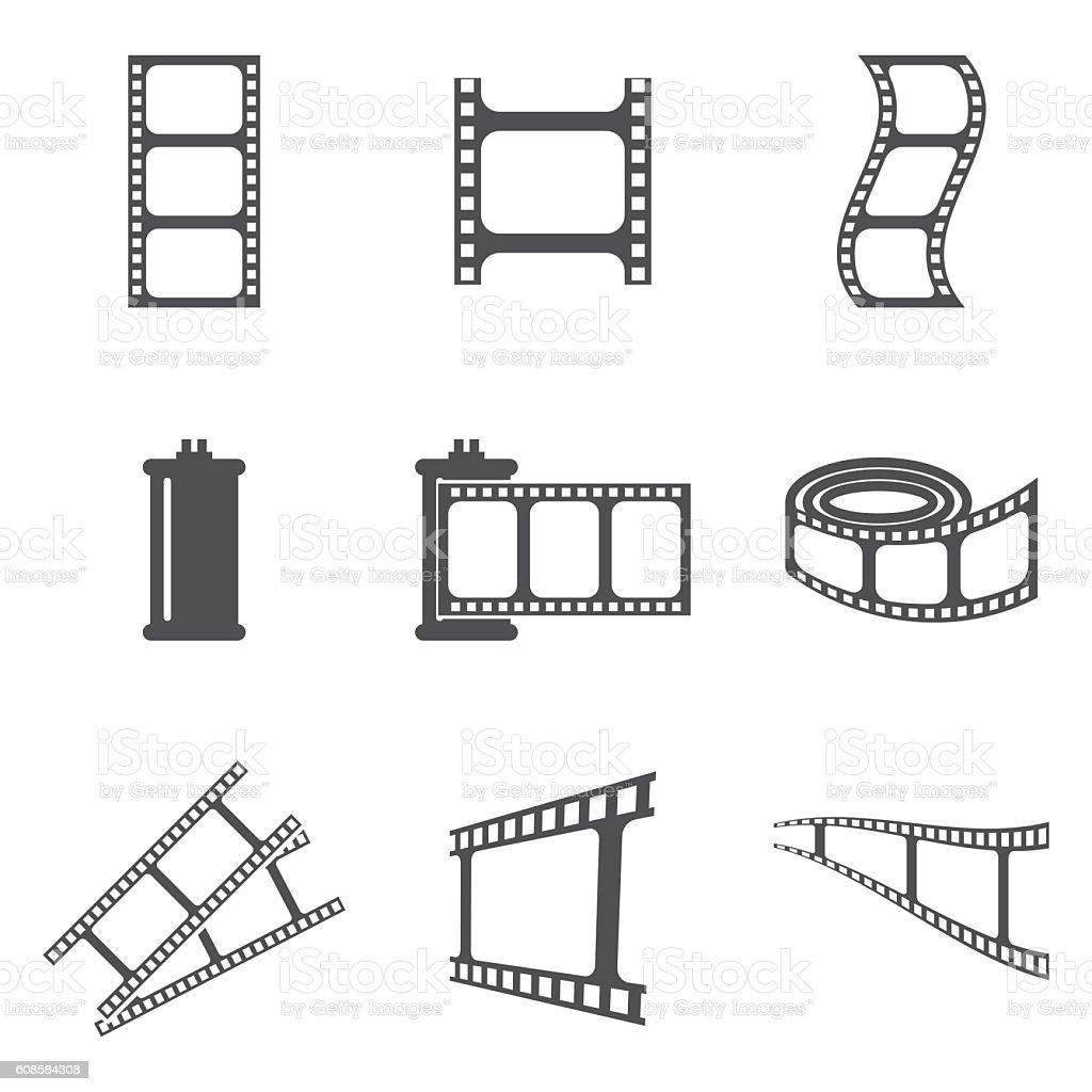 photo film icons vector art illustration