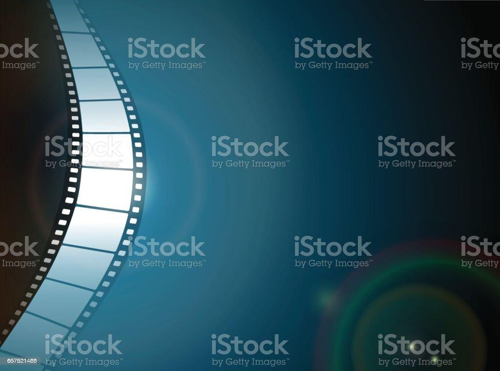 Photo film strip on dark background vector art illustration