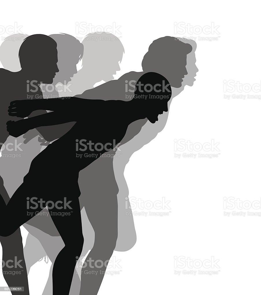 Photo finish vector art illustration