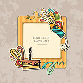 Photo frame on vintage background. Album template for kid, baby, family or memories. Scrapbook concept, vector illustration.