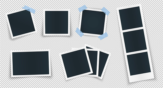 Photo frame collection with blank place with blue sticker. Rotated photo frame concept, single isolated vintage object with adhesive tape. Vector detailed illustration of edge for images and pictures.