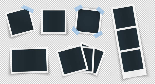 帶藍色貼紙的空白位置的相框集合。旋轉相框概念,單隔離的老式物件與膠帶。圖像和圖片邊緣的向量詳細插圖。 - 有邊框的 幅插畫檔、美工圖案、卡通及圖標