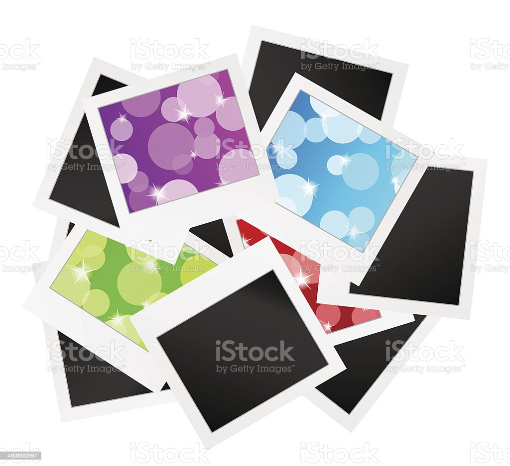 photo frame collection with bubbles or blank vector art illustration