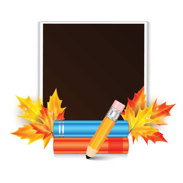 fotorahmen dekoriert mit herbst ahorn blätter und unterrichtsfächer isoliert auf weißem hintergrund - fotografieanleitungen stock-grafiken, -clipart, -cartoons und -symbole