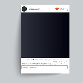 Photo frame inspired for friends internet sharing. Empty Social network photo frame to use in your design. Vector template EPS 10