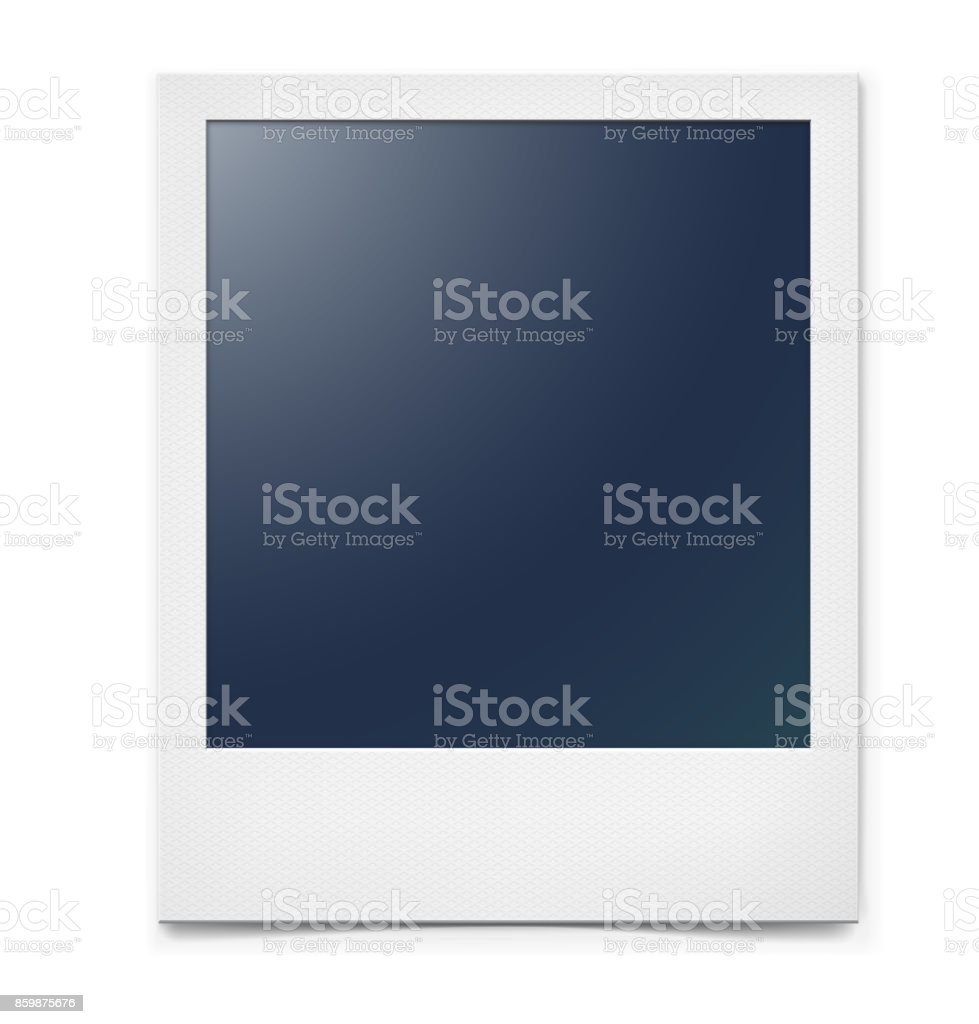 Photo frame isolated on a white background with a realistic paper texture and shadow. vector art illustration