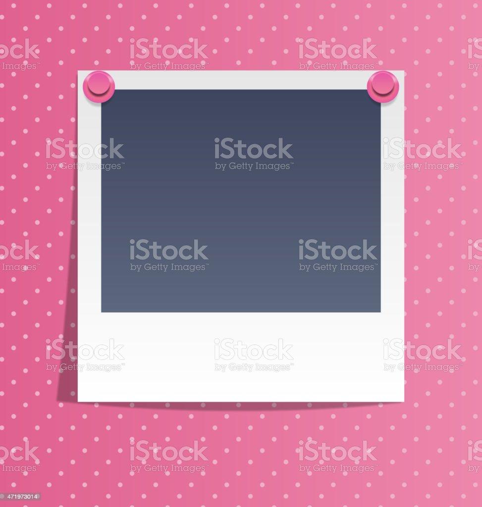 Fotobilderrahmen An Wand Mit Rosa Pins Auf Pink Stock Vektor Art und mehr  Bilder von 50