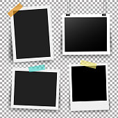 Photo Frame Set With Adhesive Tape In Transparent Background Gradient Mesh, Vector Illustration