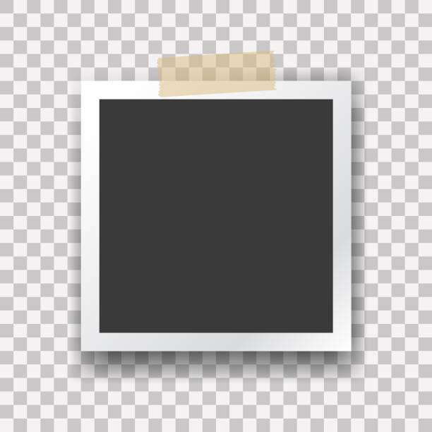 Photo frame template, vector illustration. Polaroid style imitation, Instant photo frame for social net, documents, fun. Vector editable illustration. Photo frame template, vector illustration. Polaroid style imitation, Instant photo frame for social net, documents, fun. Vector editable illustration. polaroid frame stock illustrations