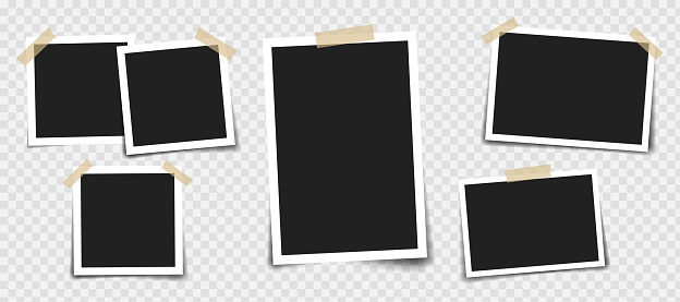 Photo frame with adhesive tape of different colors and paper clip. Photo realistic vector makeup of different size on transparent background