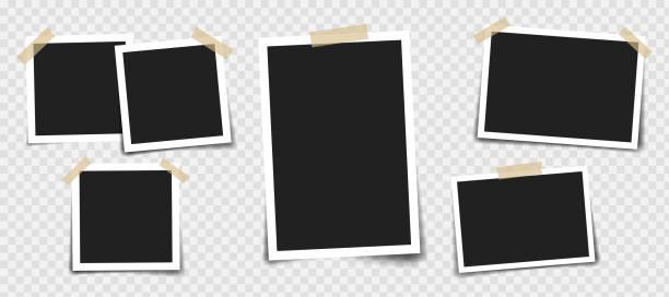 ilustrações, clipart, desenhos animados e ícones de moldura para fotos com fita adesiva de cores diferentes e clipe de papel. composição vetorial realista fotográfica de diferentes tamanhos em fundo transparente - imagem