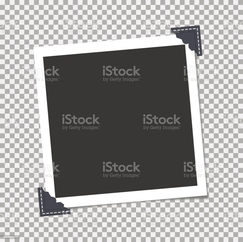 Fotoram med vinkel, hörnet på isolera bakgrund. Mall, tomt för ditt trendiga foto vektorkonstillustration