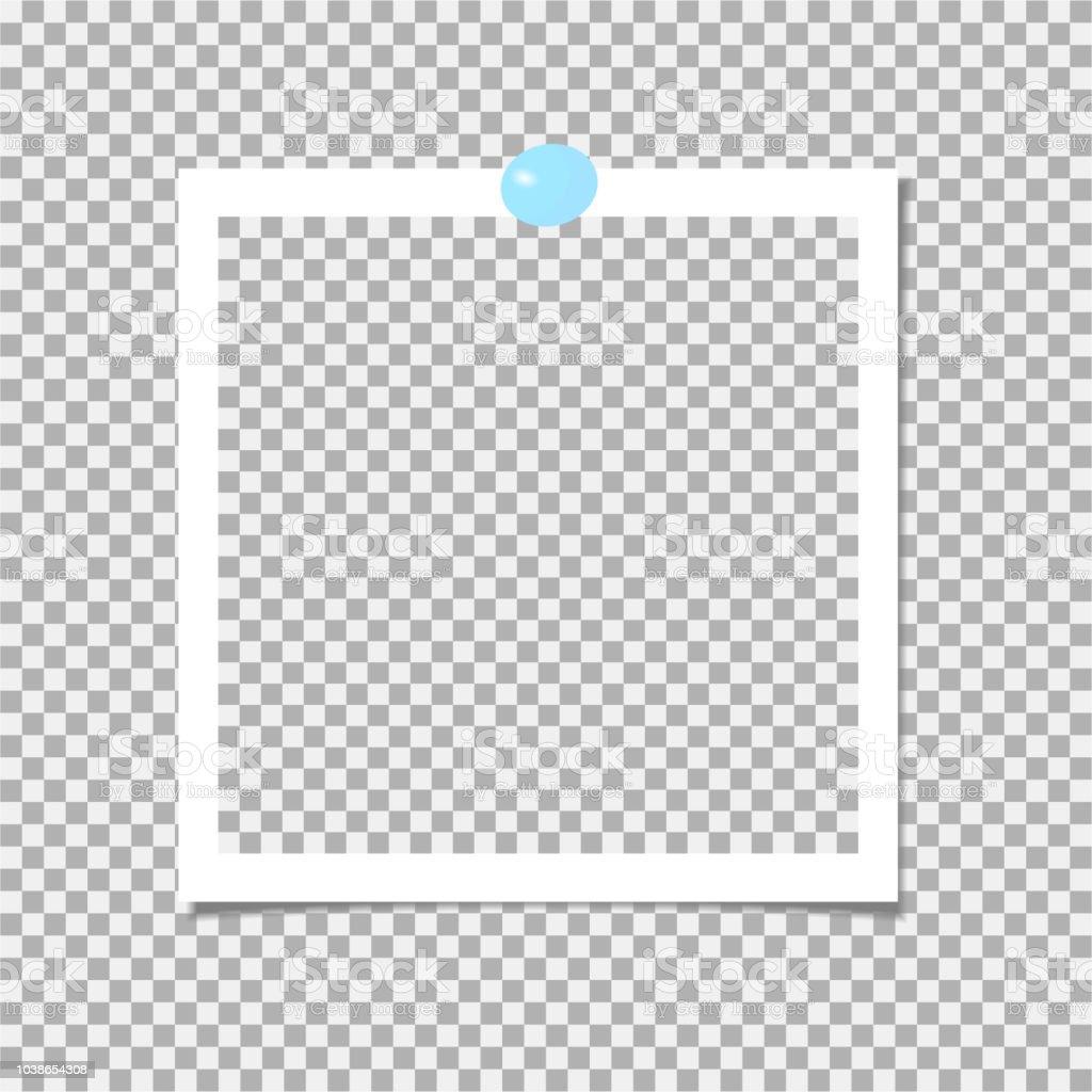 Cadre photo avec épingle bleue. Modèle. Illustration vectorielle cadre  photo avec épingle bleue modèle c505c0f1dcd