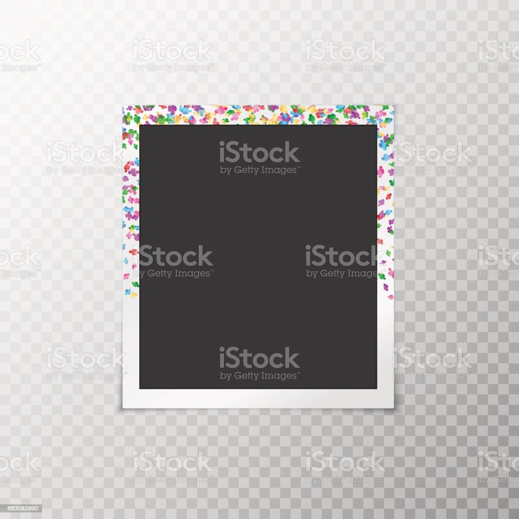 Photo frame with festive confetti photo frame with festive confetti - arte vetorial de stock e mais imagens de abstrato royalty-free