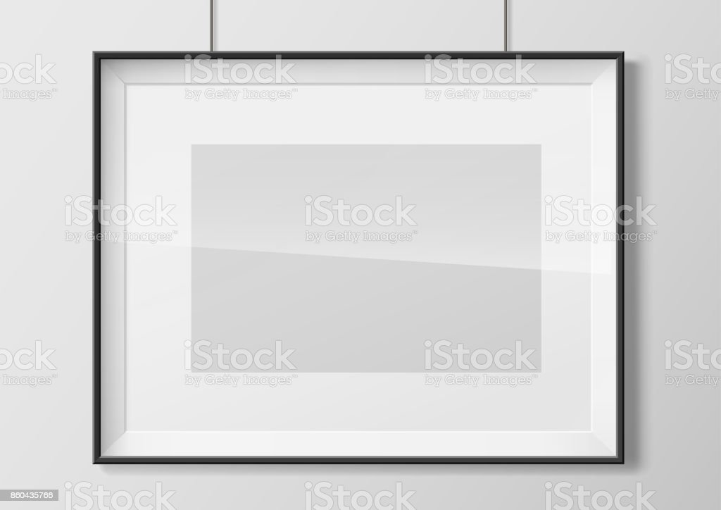 Photo frame with glass vector art illustration
